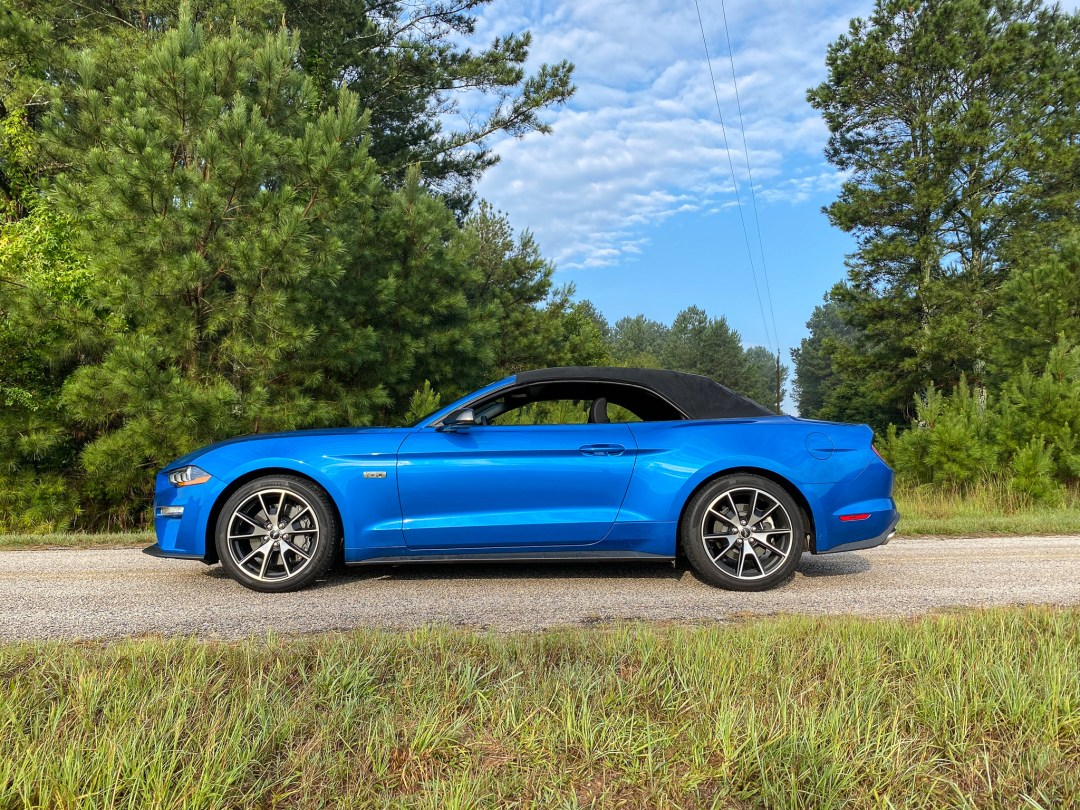 Blue Ecoboost Mustang Convertible side