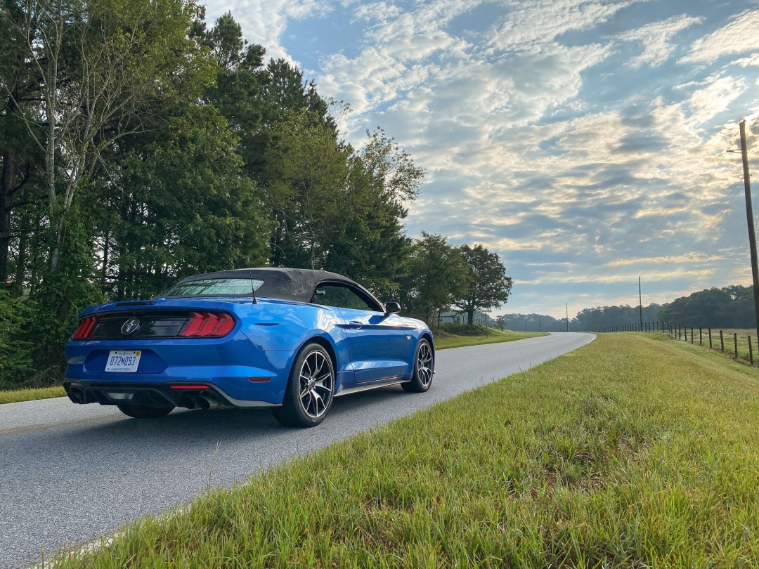 Blue Ecoboost Mustang Convertible rear