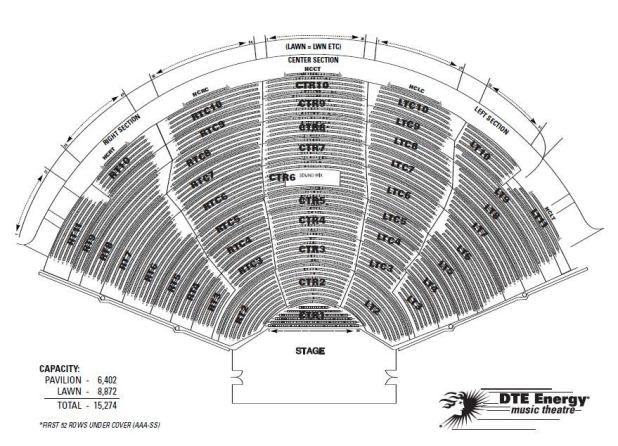 Dte energy music theater seating chart with seat numbers