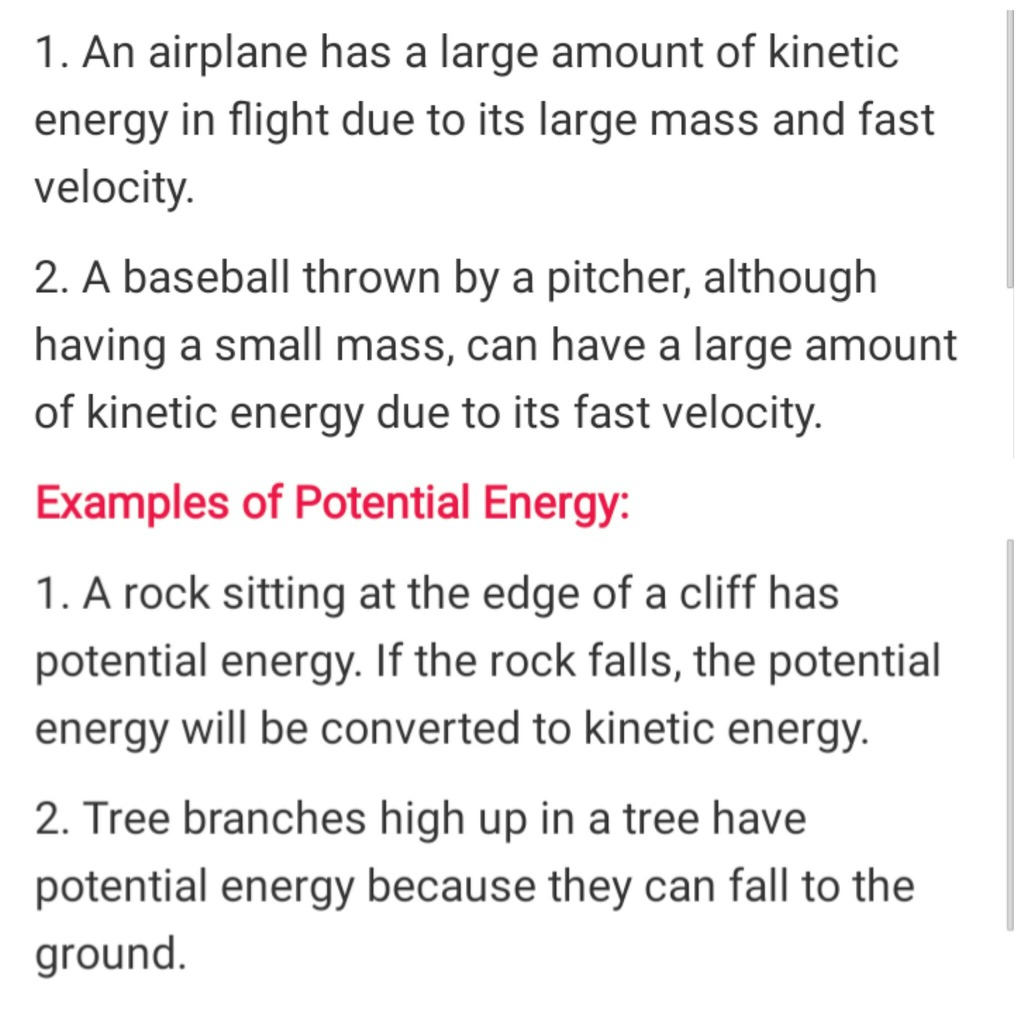 Examples Of Kinetic Enery And Potential Energy Its Urgent