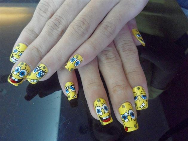 My Spongebob Hand Painted Nail Art