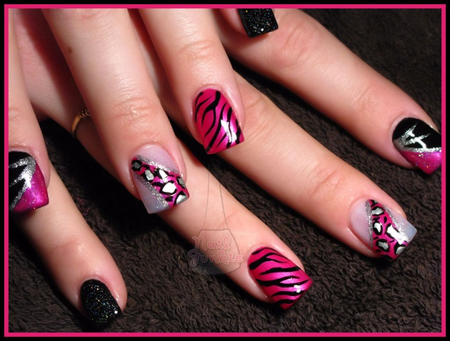 Pink Black Silver Animal Print