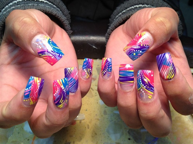 Pink And Purple Strip Manicure