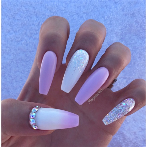 White And Lavender Ombr 233 Coffin Nails