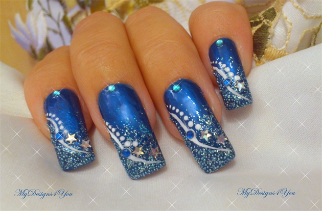Winter New Year 180 S Blue Nail Art Design