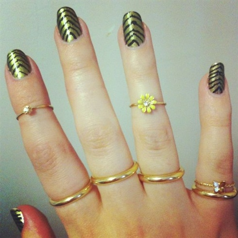 Gold And Black Striped Nail Art Design