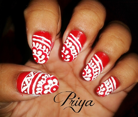 Pea Feather Indian Bridal Nail Design