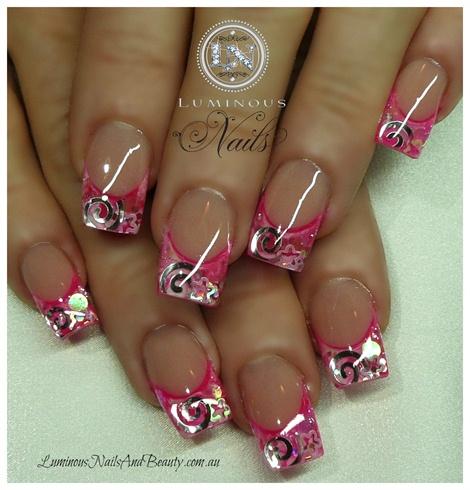 Hot Pink White Swirls Stars