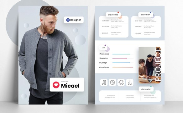 Minimal and Modern Resume Template for Designer with Photo