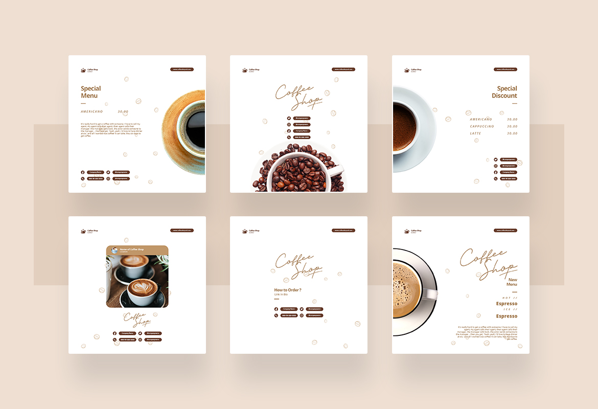 Coffee Shop Instagram Post and Story Template for Social Media