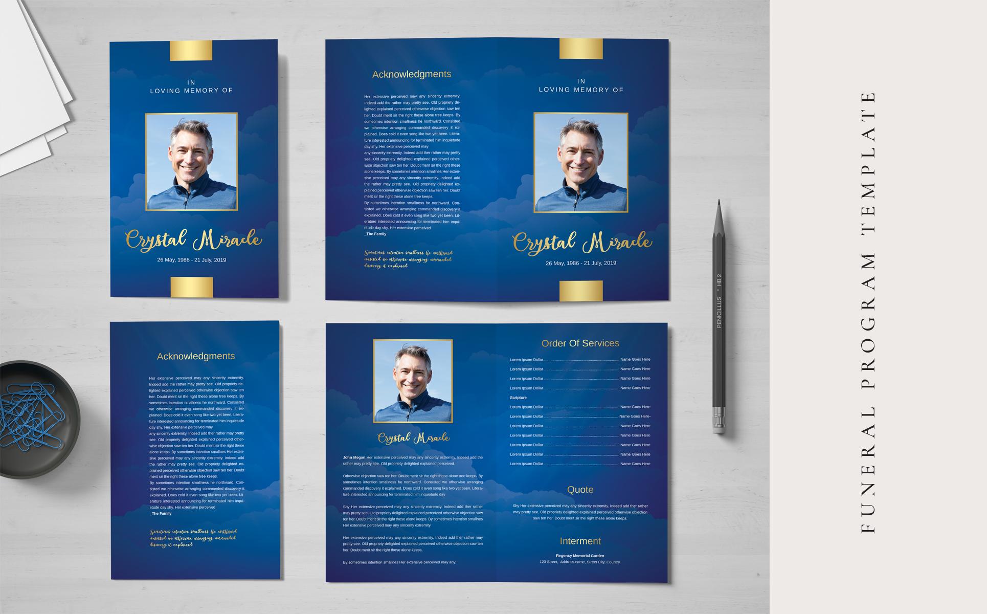 Beautiful Blue Sky Funeral Program Template