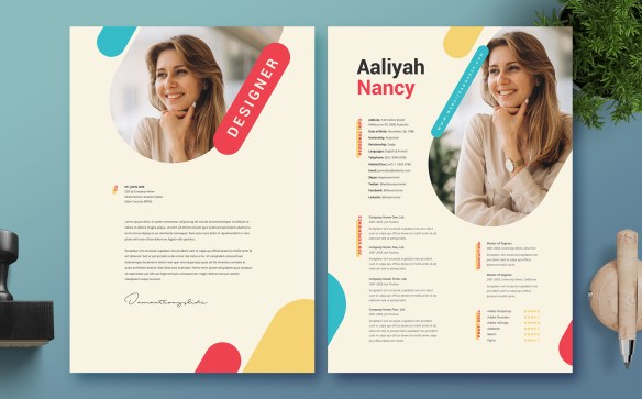 Designer Professional and clean Woman Resume Template