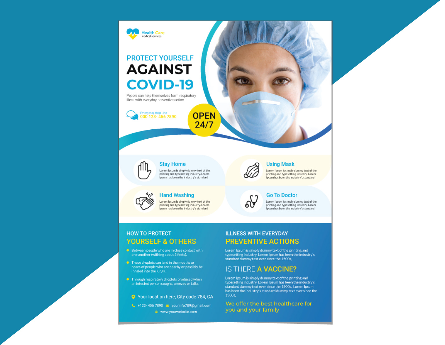 Medical Flyer Template - Blue and White Color Theme With Circular Header Design