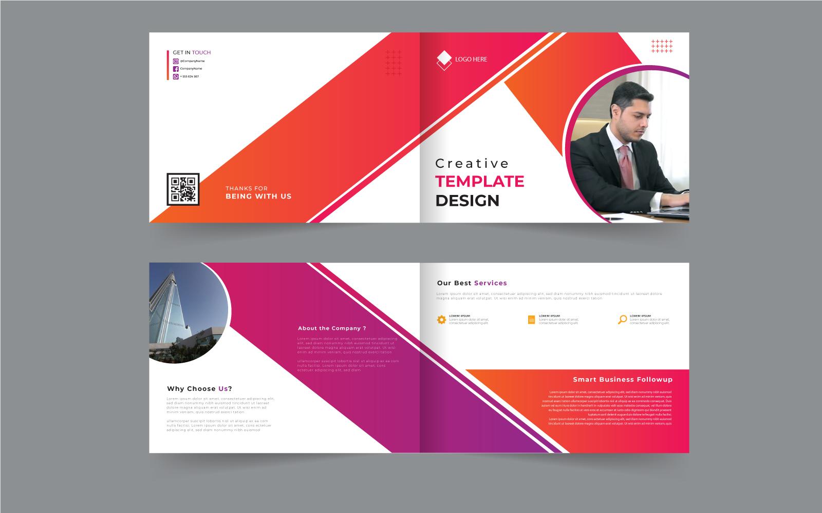 Orange, Pink and Purple Diagonal Lines Geometric Modern Bifold Brochure Design