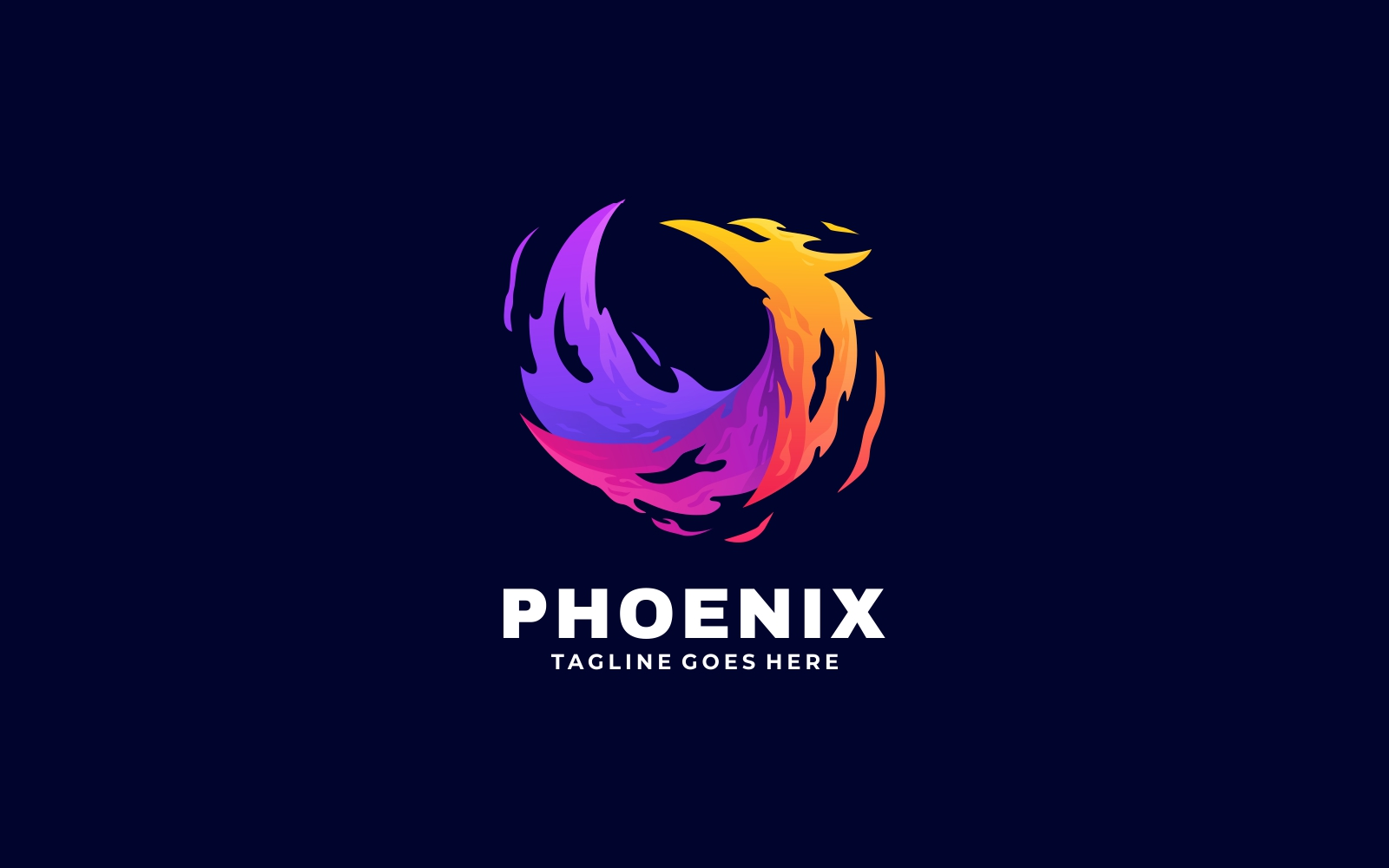Abstract Modern Flame Phoenix Colorful Gradient Logo