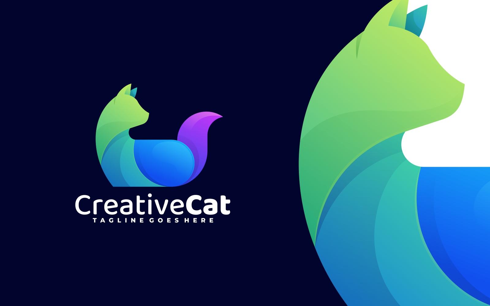 Creative Cat 3D Gradient Logo - Green, Blue and Purple
