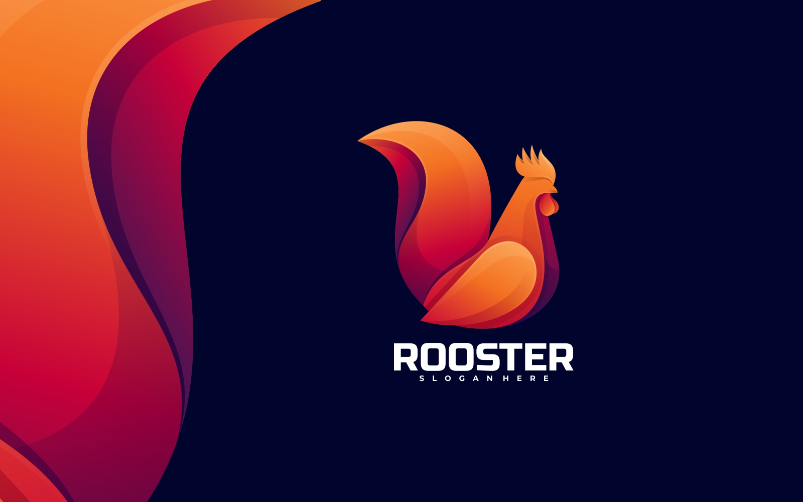 Rooster 3D Gradient Logo Style Template