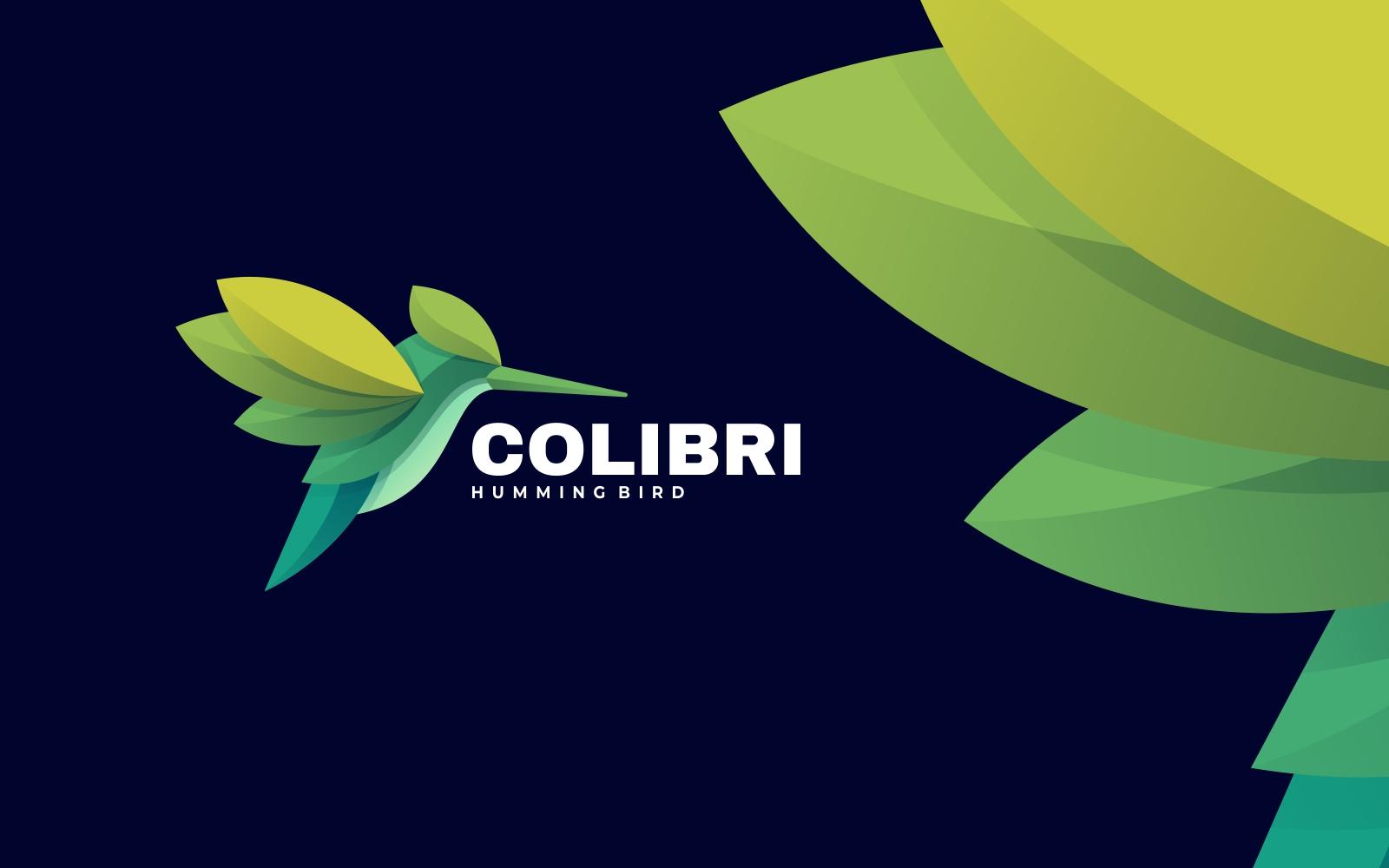 Hummingbird 3D Gradient Green Logo Design Template