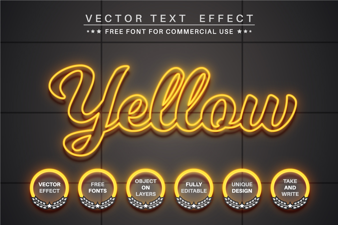 Glow Outline - Editable Text Effect, Font Style, Graphics Illustration