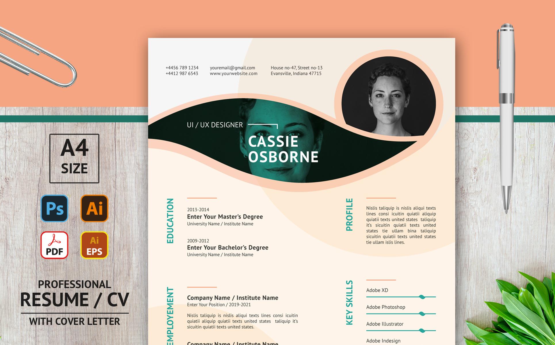 Creative Duotone Leaf Design Layout - Printable Resume Template