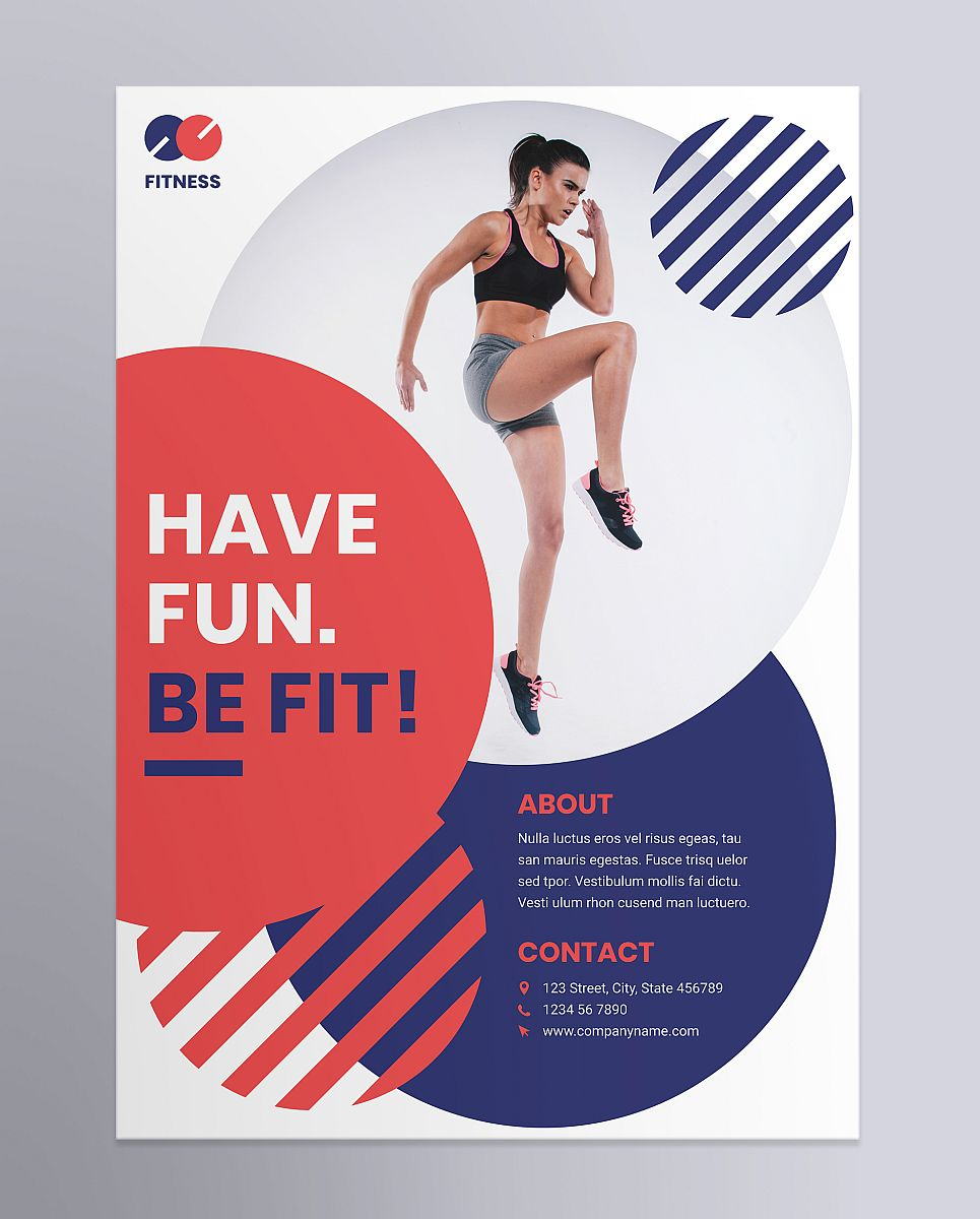 Creative Fitness Trainer Poster Template - Circular Design