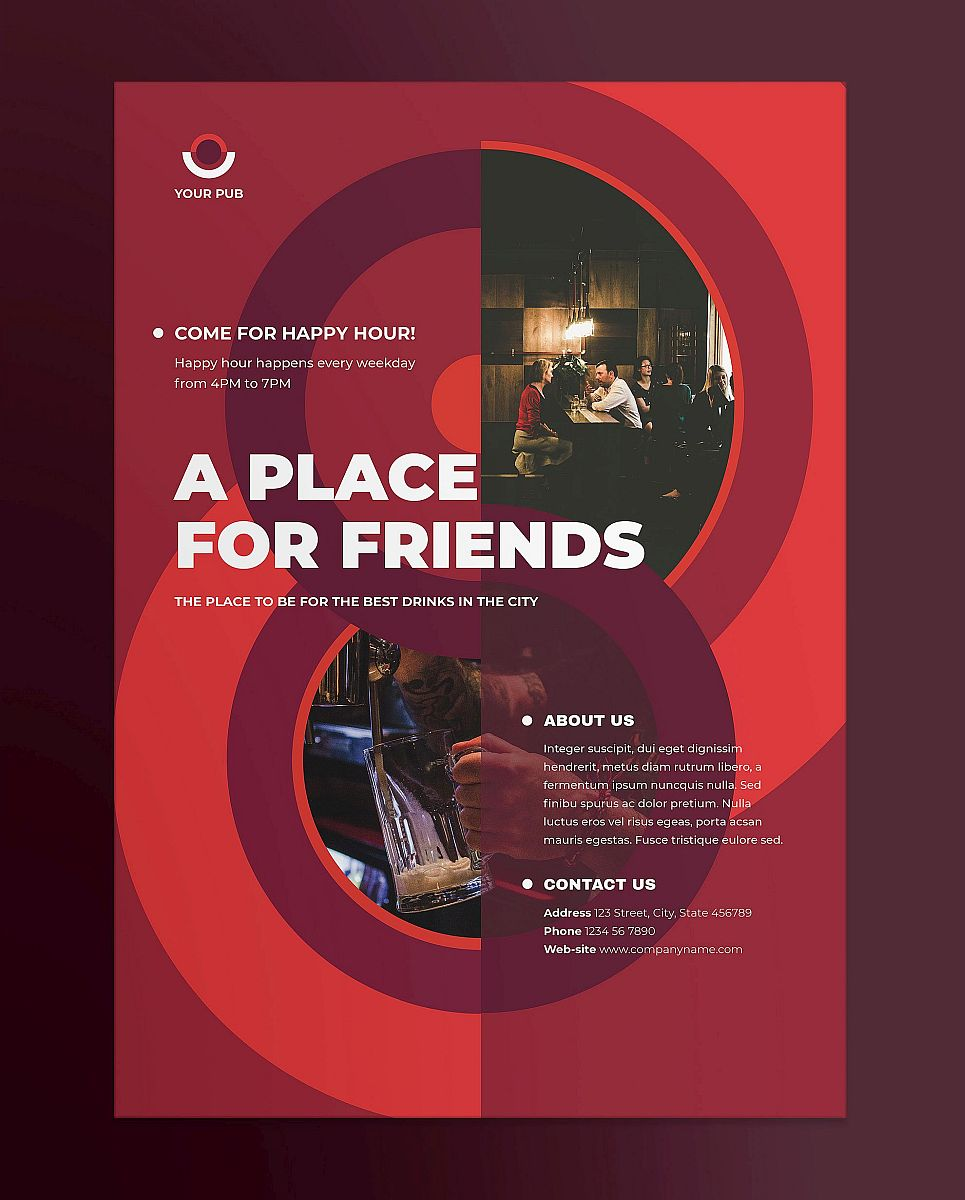 Ready-to-Use Pub Circular Design Red and Maroon Poster Template