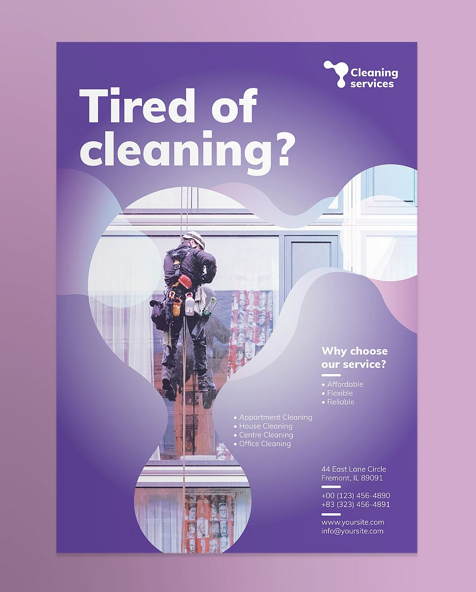 Professional Cleaning Service Poster Design Template - Purple Theme