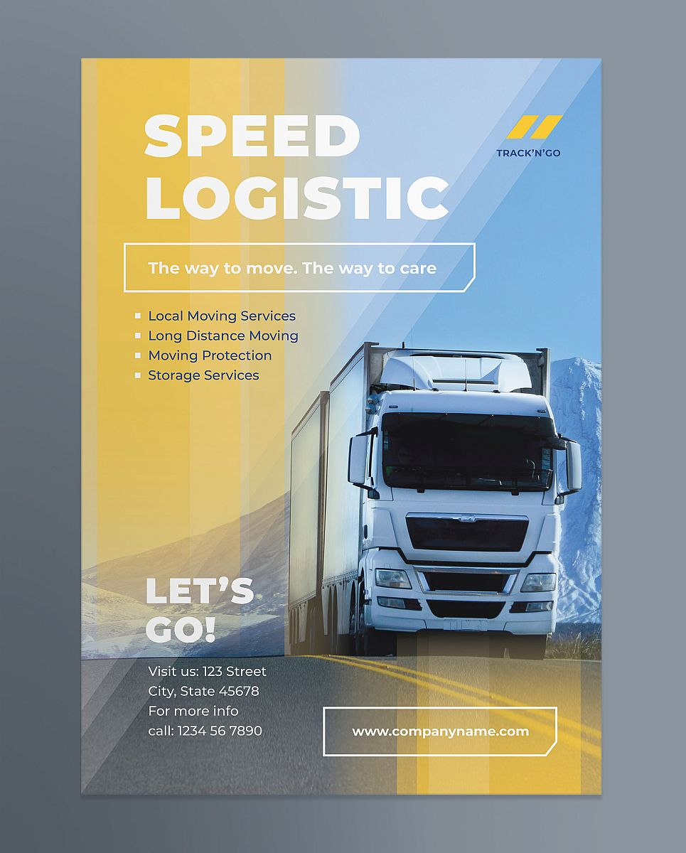 Multipurpose Trucking and Logistics Poster Template - Yellow and Blue Transparency Design