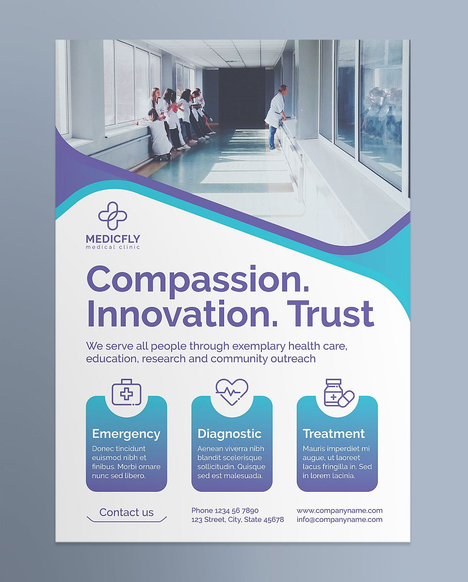 Professional Medical Clinic Flyer Template - Blue and Purple Theme