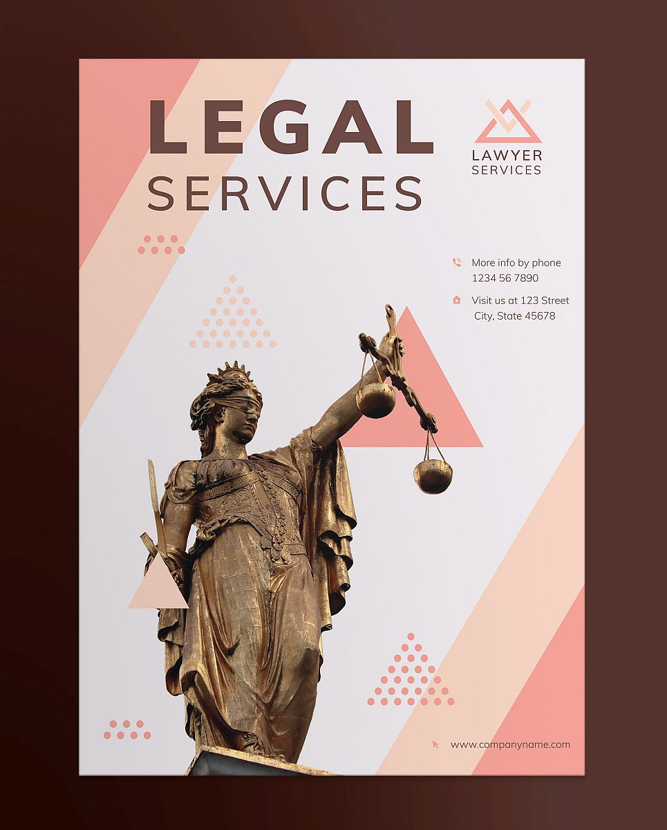 Professional Legal Services Poster Template - Pink and White Geometric Modern Design