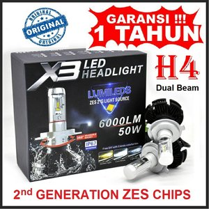Lampu Mobil LED X3 H4 With ZES 2nd G Chipset Hi Lo Beam