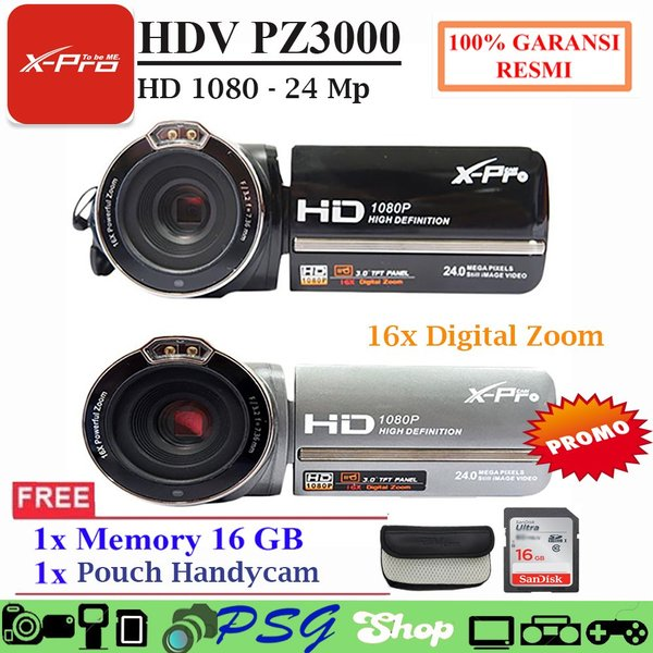 THE GREATEST HANDYCAM Murah X PRO HDV PZ 3000 24 0 Mp Free SD Card 16