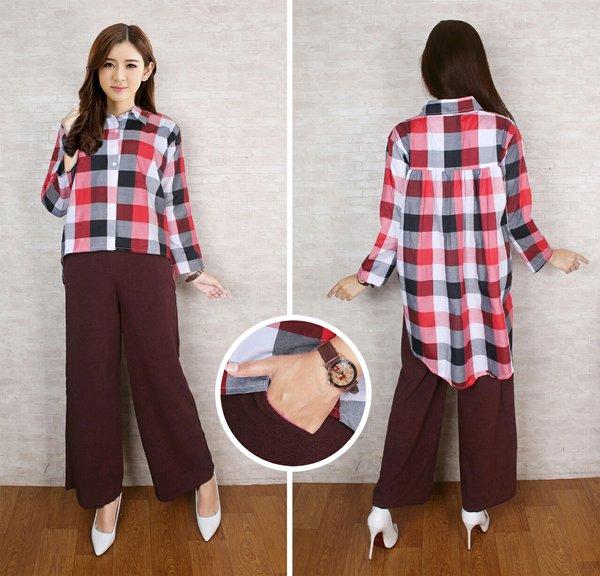 Viona setelan blouse atasan and celana kulot panjang