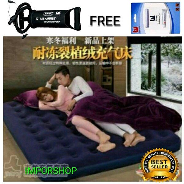 kasur angin bestway ori king size free pompa + lem riperkit / kasur matras lipat sofa angin terlaris