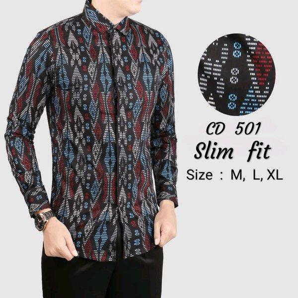 kemeja Batik Pria Lengan Panjang Slimfit Modern