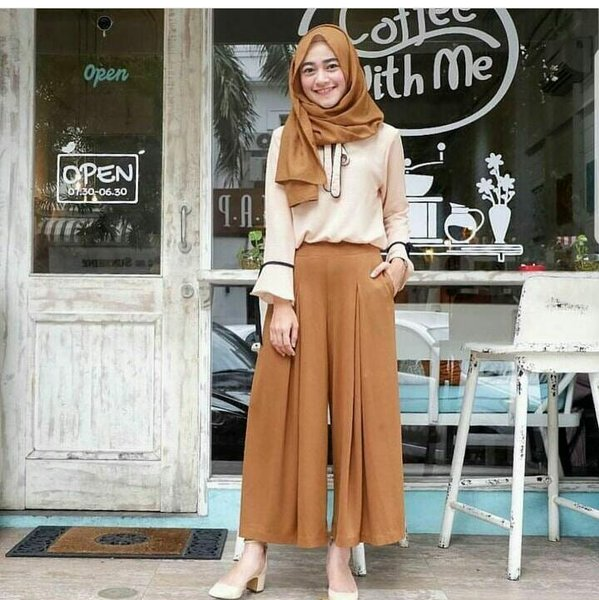 arima setelan busana muslim cantik setelan blouse dan celana panjang kulot wanita hotd kekinian fashion busana muslim murah