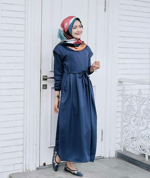 Dress polos busui  Gamis ibu menyusui  baju murah - Malika dress Navy HUP