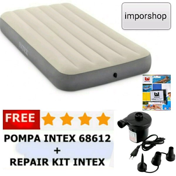 paket ekonomis kasur angin twin single intex cream + pompa listrik + lem / kasur udara matras kasur angin mobil / kasur camping sofa busa lipat kasur multiguna import