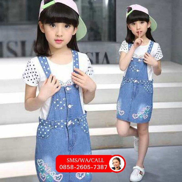 SET GIRL DRESS OVERALL JEANS LOVE POLKADOT DRESS JEANS ANAK PEREMPUAN