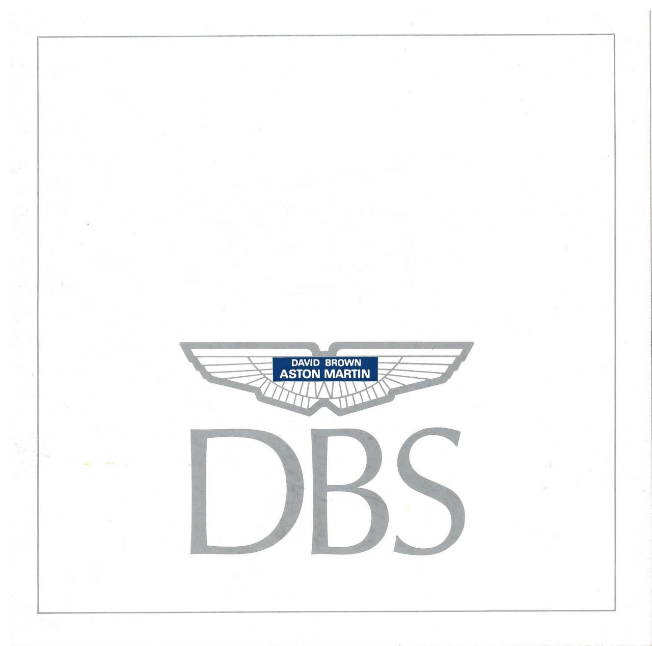 First Sales Brochure For The Aston Martin Dbs 6 Cylinder