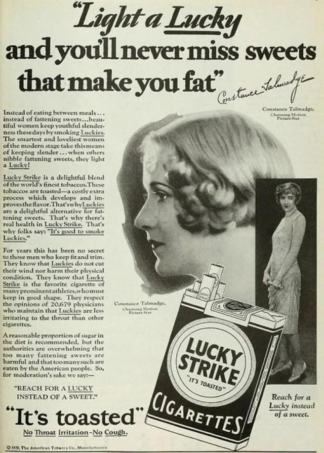 Anuncio publicitario de la 'American Tobacco Company' de 1929.