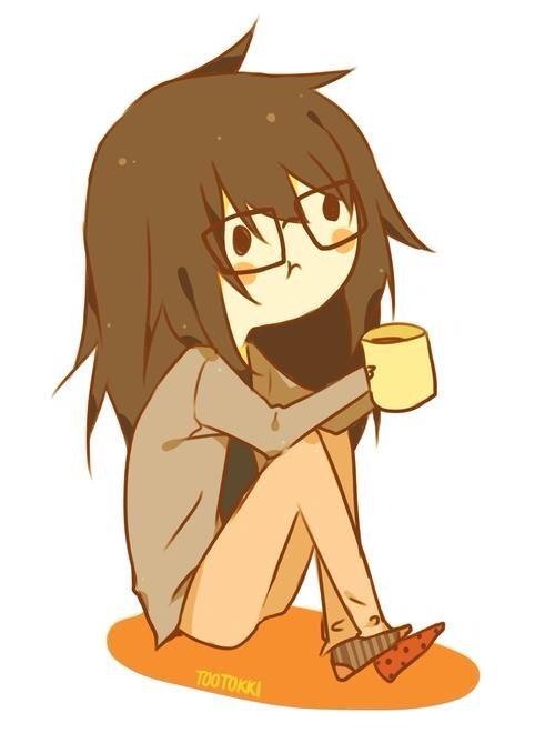 anime, coffee, girl, lazy, messy, socks, tea, First Set on Favim.com