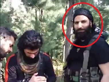 Sabzar Ahmad Bhat (circled) in an undated video. Screen grab from YouTube
