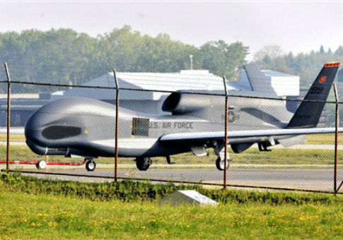 A U.S. Global Hawk surveillance drone lands at the Misawa Air Base in Japan / AP