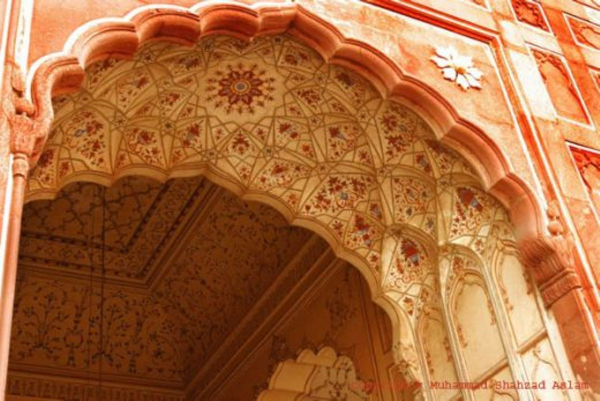 One of the hundreds of arches in the Mosque - so typical of Mughal architecture.