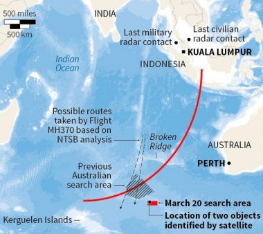A diagram showing the search area for Malaysia Airlines Flight MH370 in the southern Indian Ocean is seen during a briefing by John Young, general manager of the emergency response division of the Australian Maritime Safety Authority (AMSA), in Canberra March 20, 2014. REUTERS GRAPHIC