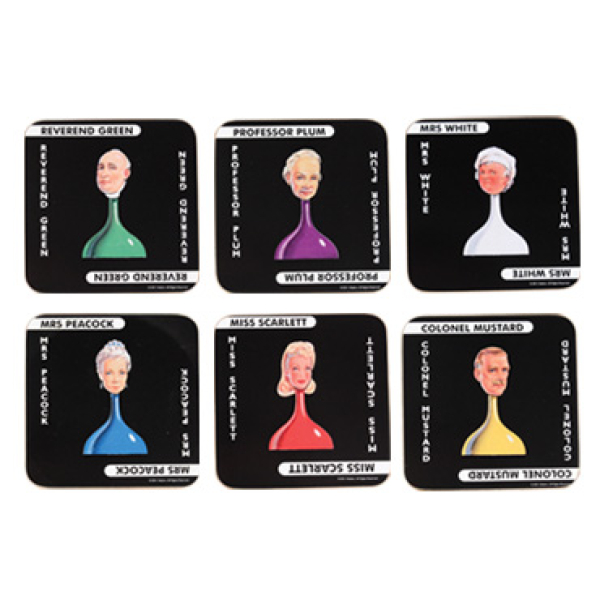 Cluedo Coasters 6 Pack Traditional Gifts Zavvi