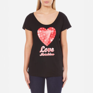 Love Moschino Women's Heart Logo T-Shirt - Black