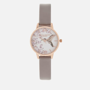 Olivia Burton Women's Painterly Prints Watch - London Grey/Rose Gold