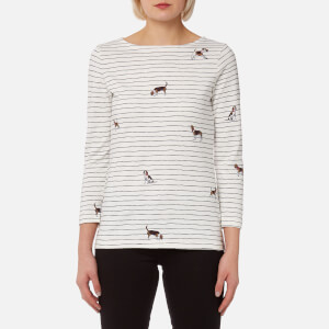 Joules Women's Harbour Print Jersey Top - Cream Stripe Dogs